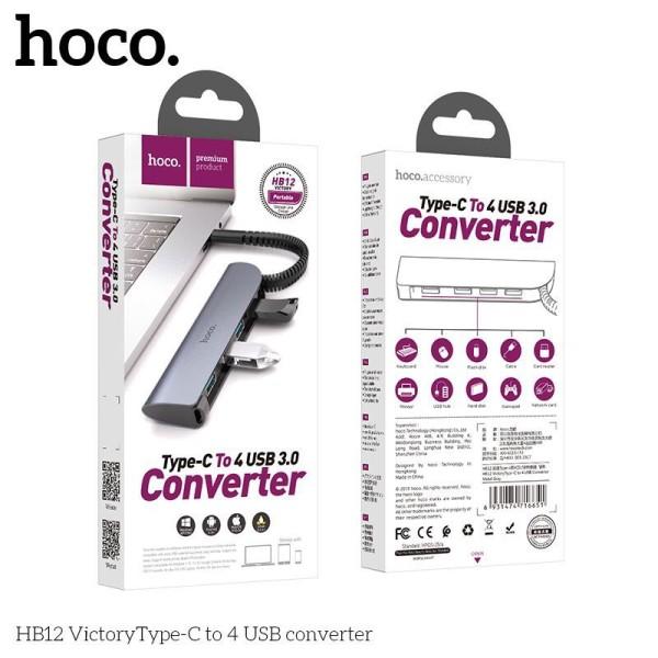 [CHÍNH HÃNG] Bộ Chuyển Đôi Hoco HB12 Type-C sang 4 usb