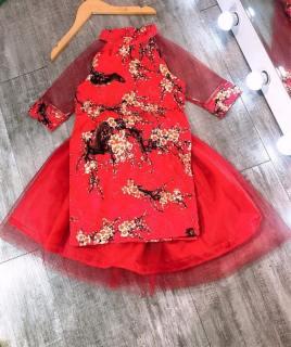Áo dài cách tân cho bé gái, Áo dài Tết mẫu mới hottrend  vải gấm loại đẹp cho bé từ 10 kg đến 30kg (màu đỏ, màu vàng)-  Tặng kèm chân váy voan