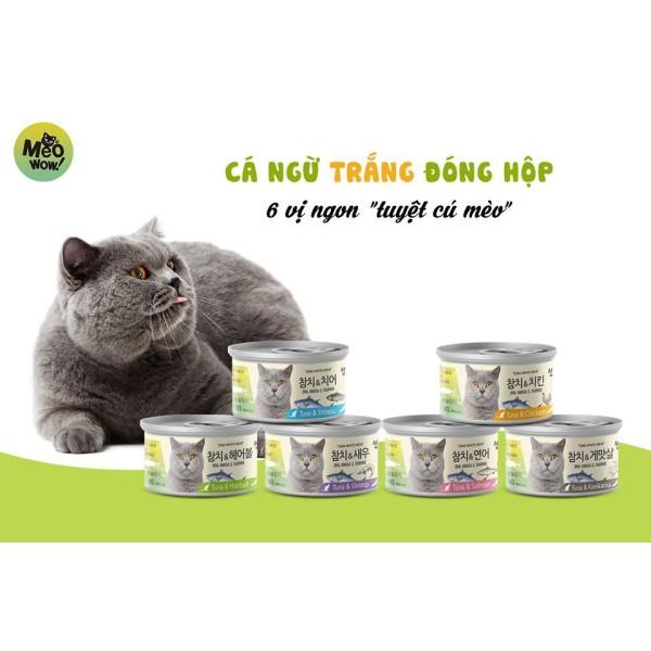 Pate MEOWOW tuna white cá ngừ trắng nguyên miếng cho mèo lon 80g