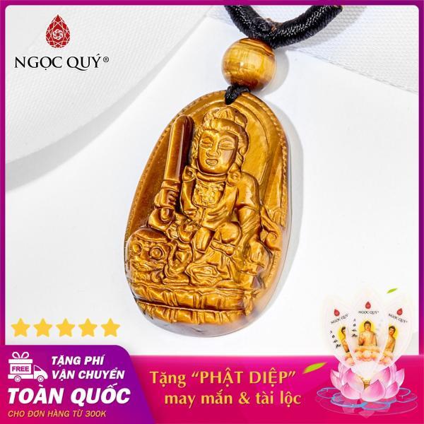 [HCM][ĐÁ THẬT 100%] Mặt dây chuyền Phật Văn Thù Bồ Tát đá Mắt Hổ vàng nâu Phật bản mệnh cho tuổi Mão 3.6 x 2.3cm (TẶNG DÂY ĐEO) - Ngọc Quý Gemstones