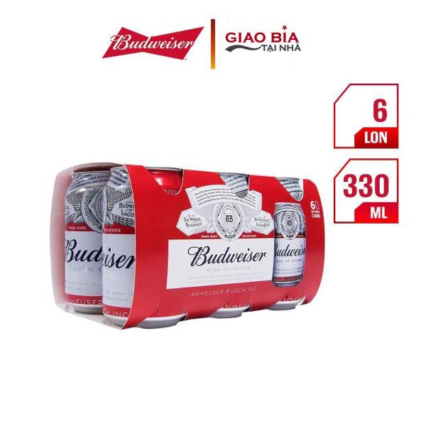 Lốc 6 Lon Bia Budweiser 330ml   Chính Hãng
