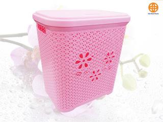 Giỏ đựng đồ có nắp hoa Việt Nhật - giỏ nhựa đựng đồ - thùng chứa đồ - hộp đựng đồ- đồ dùng phòng ngủ - nội thất phòng ngủ đồ gia dụng - vật dụng sắp xếp đa năng- Dụng Cụ trang trí nhà cửa thumbnail