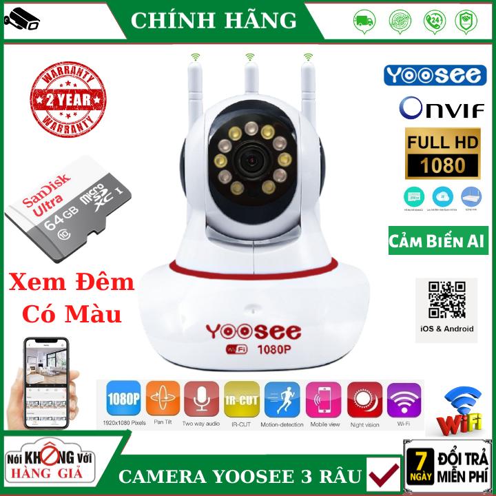 (Tùy Chọn Kèm thẻ nhớ 128GB - bảo hành 5 năm), Camera Wifi Yoosee 3 râu đỏ xem đêm có màu - 2.0 MPX - FullHD ,cảm biến AI thông minh , đàm thoại 2 chiều , camera mini , camera ip , camera yoosee , camera 3 râu , camera giá rẻ