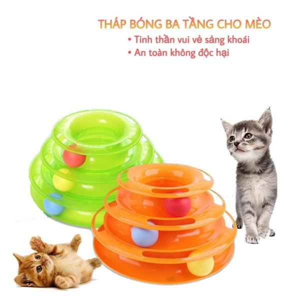 Đồ chơi mèo 3 tầng hình tháp banh cho mèo đùa nghich vui nhộn giảm stress cho mều