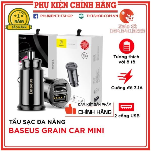 [BH 12 Tháng] Tẩu Sạc Nhanh Baseus Baseus Grain Mini  Đa Năng 2 Cổng USB 3.1A Cho Xe Hơi, Ô Tô