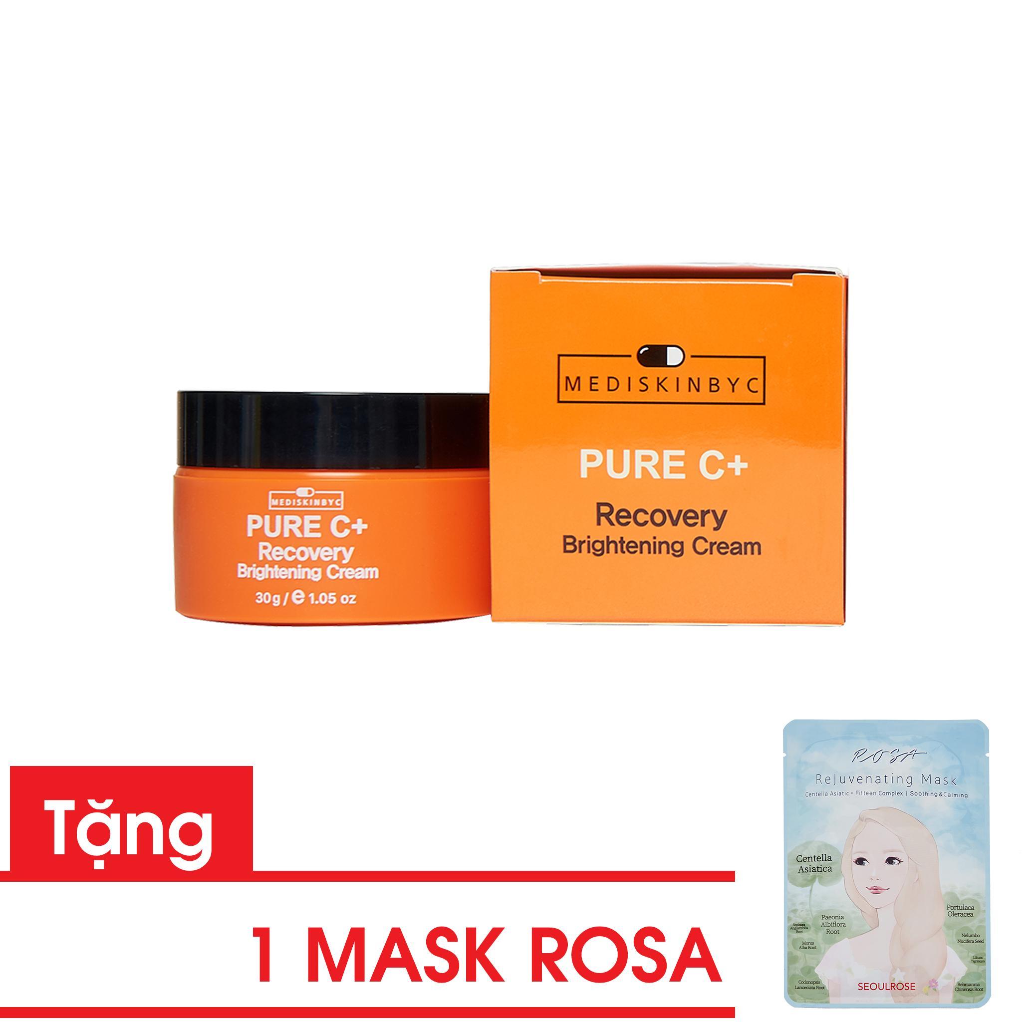 [ Mua 1 tặng 1] Combo Kem Dưỡng Trắng Mediskinbyc Pure C+ Recovery Brightening Cream và Mask Rosa