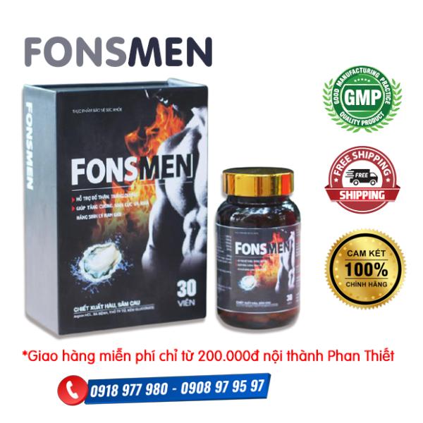 Fonsmen - Hỗ trợ bổ thận, tráng dương, giúp tăng cường sinh lực và khả năng sinh lý nam giới. Hỗ trợ giảm nguy cơ mãn dục sớm.
