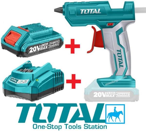 Súng bắn keo dùng pin Total TGGLI2001 kèm pin sạc 20v 2.0ah và đế sạc - TGGLI2001_1,  sản phẩm đa dạng về mẫu mã, kích cỡ, chất lượng đảm bảo, cam kết hàng nhận được giống với mô tả