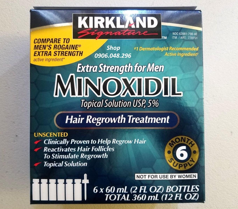 Khuyến Mãi ! [ Expiry Date : 2021 ]  Sản phẩm mọc Tóc, mọc Râu Minoxidil Kirkland USA  từ Hoa Kỳ - 1 Hộp gồm 6 Lọ . Thuốc mọc râu, mọc tóc Minoxidil