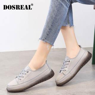 Giày Giày Cột Dây Nữ Trắng DOSREAL, Giày Đế Bằng, Phong Cách Hàn Quốc Da Thật, Giày Oxford Thường Ngày