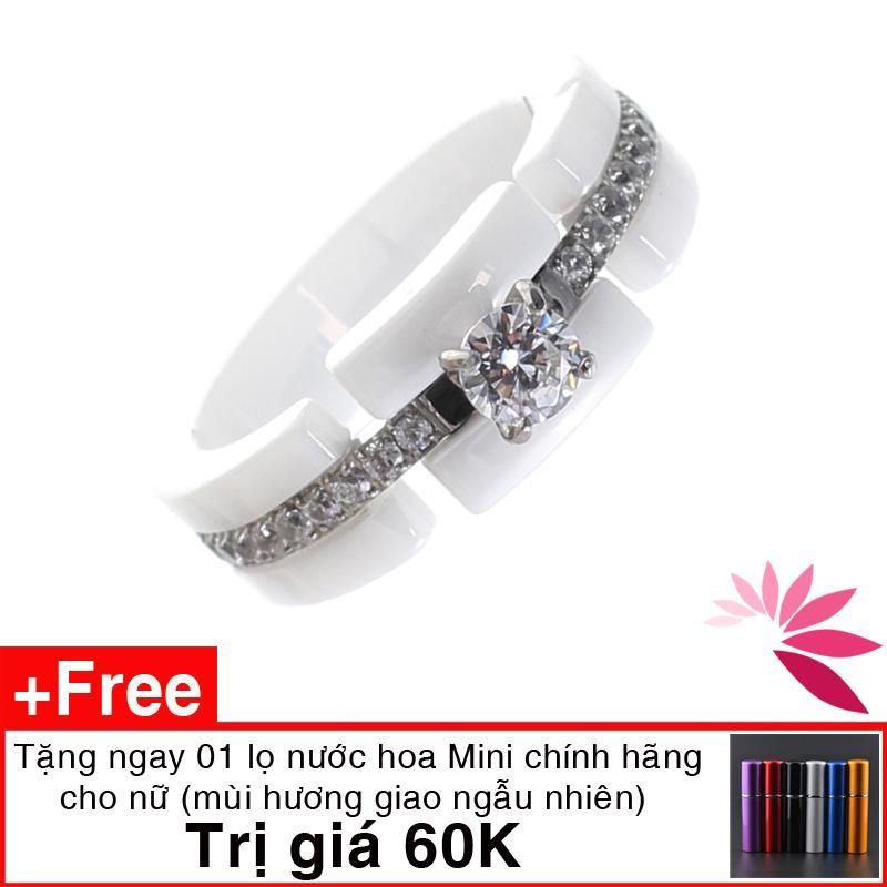 Nhẫn nữ ceramic Hàn Quốc(CÓ VIDEO) cao cấp siêu nhẹ, không xước, cứng gấp 4 lần thép, bền màu vĩnh cửu Sammi Love MK385. Tặng nước hoa
