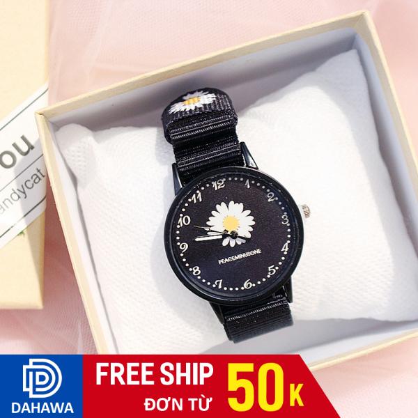Đồng hồ thời trang nữ C116 Họa tiết hoa cúc họa mi GD Hàn Quốc dây nato, mặt kính chống trầy