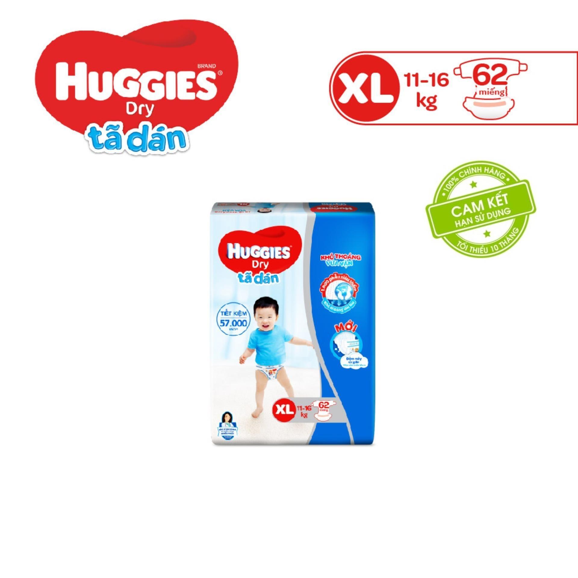 Offer tại Lazada cho Tã/bỉm Dán Huggies Dry Super Jumbo XL62(Đệm Mây Co Giãn) - Gói 62 Miếng - Cho Bé 12-17kg  - Cam Kết HSD Còn ít Nhất 10 Tháng
