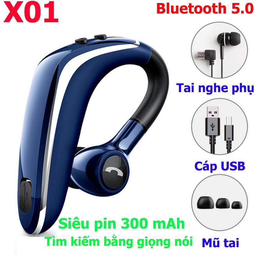 Tai nghe móc tai bluetooth 5.0 X01 - Tìm kiếm bằng giọng nói, pin trâu 300mAh