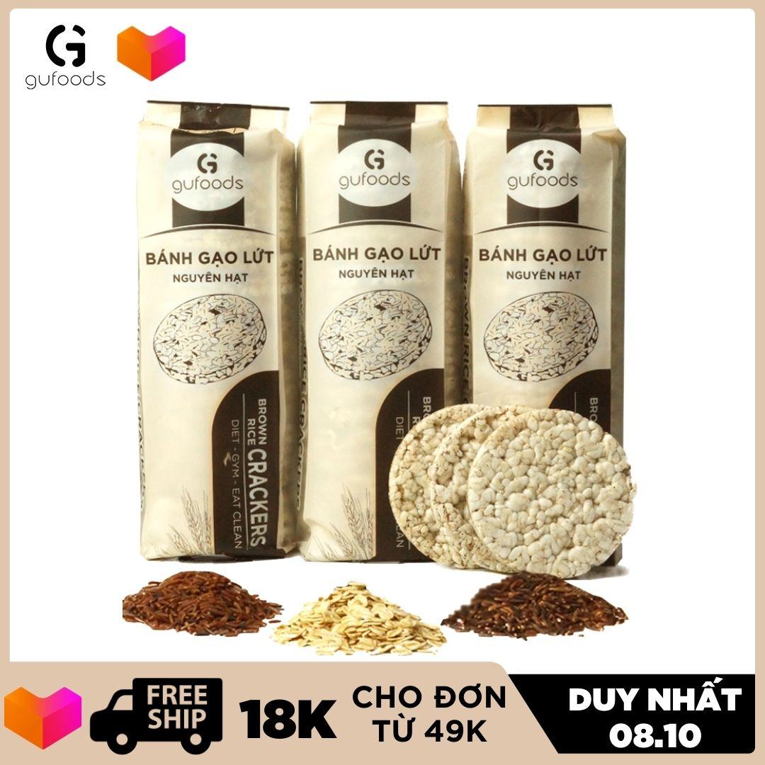 Bánh gạo lứt ăn kiêng GUfoods (510g = 54 bánh) - Các vị Yến mạch, Huyết rồng, Tím than, Mix 3 vị, Hạt chia, Hạt quinoa và Đường ăn kiêng