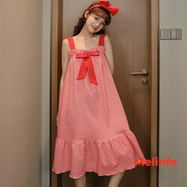 Nơi bán Váy ngủ kẻ hai dây công chúa chất cotton nhiều màu mã VAV0103