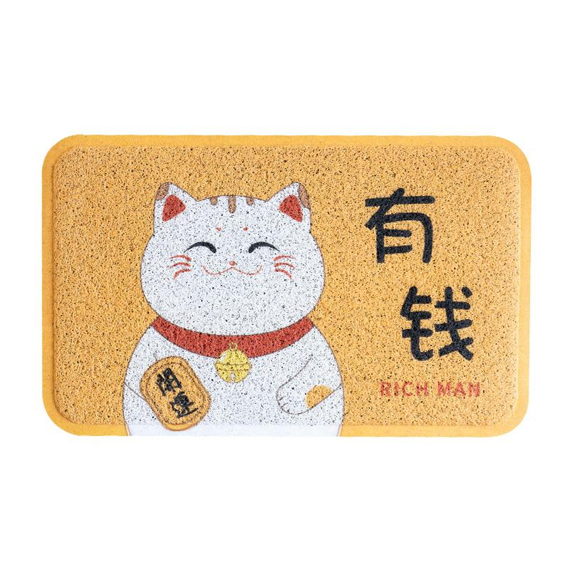 Japanese Style Fortune Cat Cartoon Cute to Washer Silk Scraper Door Doormat Home Doorway Entrance Mat