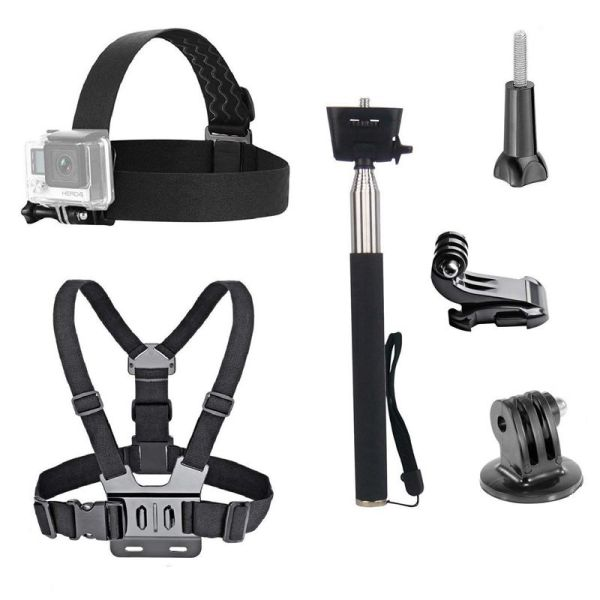 3 in 1 Universal Waterproof Action Camera Accessories Bundle Kit - Head Strap Mount/Chest Harness/Selfie Stick Compatible for Gopro Hero 6 5 Action Camera