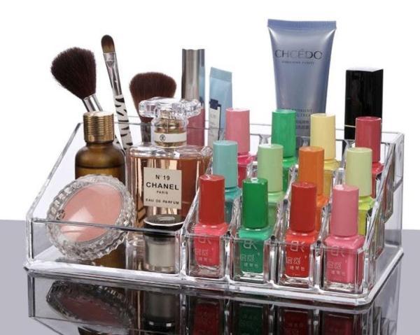 Khay đựng mỹ phẩm giá rẻ / khay đựng son 16 ngăn - Khay đựng son mỹ phẩm mica trong suốt cao cấp loại dày - Khay để son và dụng cụ make up đa năng