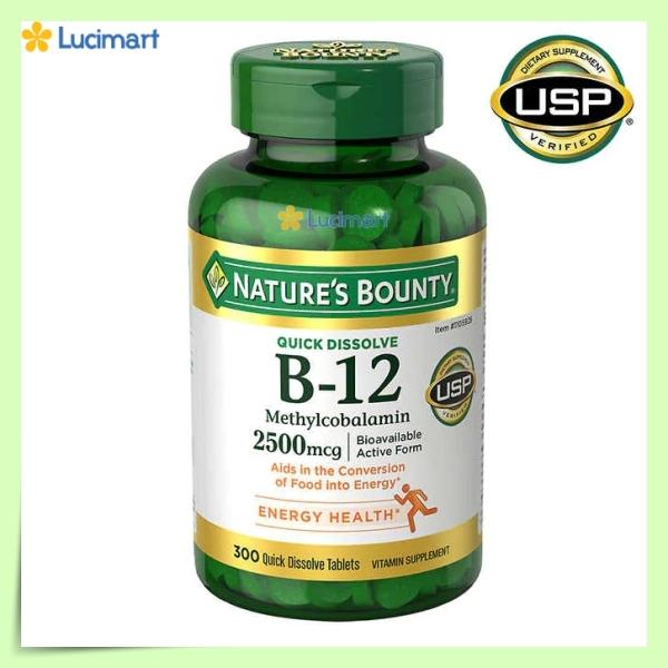 [HCM]Vitamin B-12 Nature's Bounty 2500 mcg 300 viên hòa tan nhanh (hạn dùng 2023) cao cấp