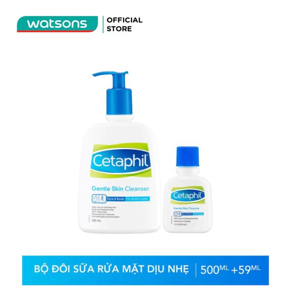 Bộ Đôi Sữa Rửa Mặt Cetaphil Gentle Skin Cleanser Phù Hợp Với Mọi Loại Da(Cetaphil 500ml + Mini 59ml) nhập khẩu
