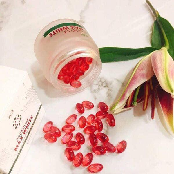 Viên uống trắng da Genie Premium Max White 60 viên đỏ nhập khẩu