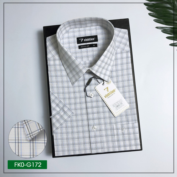 Áo sơ mi ngắn tay Vĩnh Tiến dáng suông vạt bằng - FK0-G172