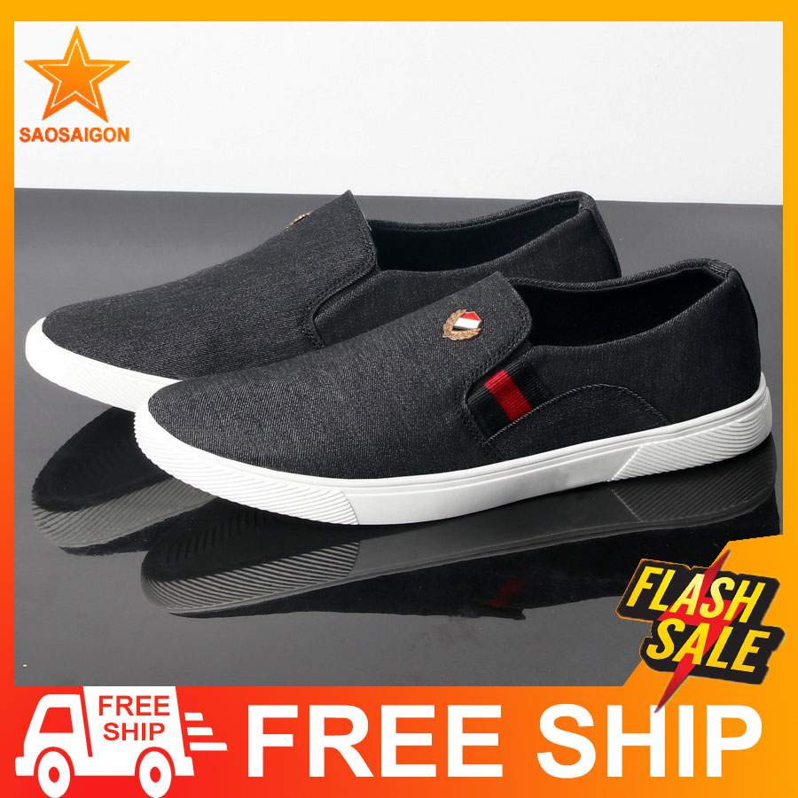 Giày lười vải nam đen đế trắng lót chân siêu êm SG361 Saosaigon | giày nam | giày lười nam | giày mọi nam