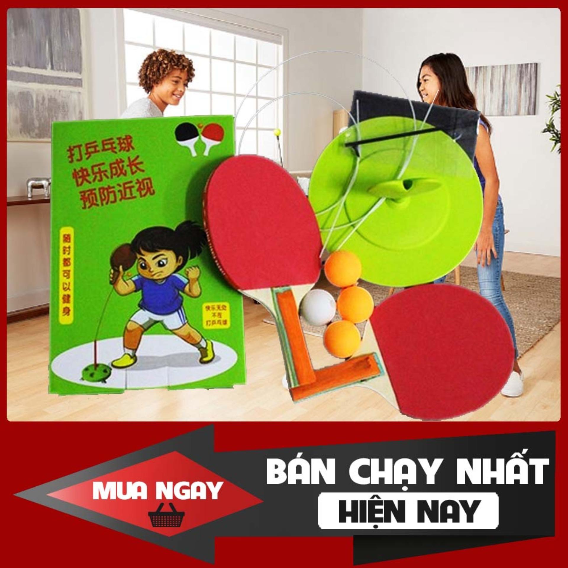 Bảng giá [Vợt gỗ] Bộ Bóng bàn luyện phản xạ - Bộ đồ chơi bóng phản xạ - Dụng cụ tập đánh bóng bàn cho mọi lứa tuổi  (gồm 4 bóng, 2 dây)