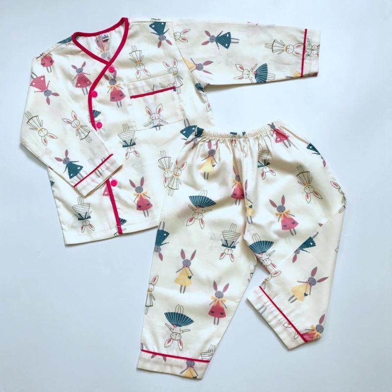 Nơi bán Pijama cho bé vải cotton hút mồ hôi Thỏ búp bê 10-40kg