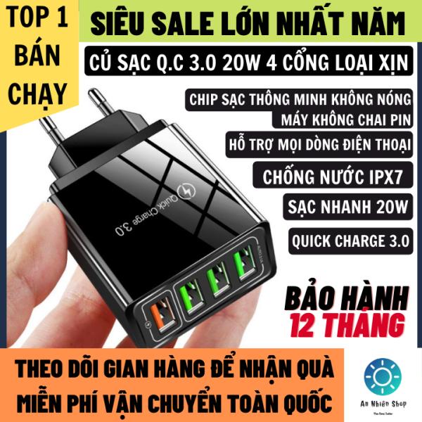 Củ Sạc Nhanh 20W Hỗ Trợ Mọi Dòng Máy Quick Charge 3.0 Chip Sạc Thông Minh Không Nóng Máy Chống Nước IPX7 4 Cổng Nhiều Chế Độ Sạc, Củ Sạc Iphone, củ sạc nhanh android, bộ sạc nhanh