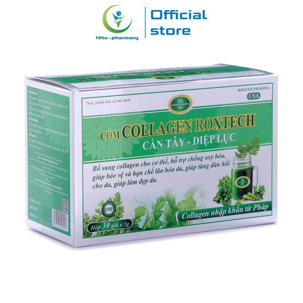 Cốm Collagen Roxtech Cần Tây Diệp Lục giúp đẹp da, giảm nám sạm da, chống lão hóa - Hộp 30 gói giá rẻ