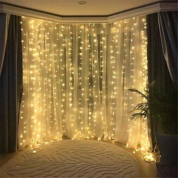 Bộ đèn nháy thả rèm 10 sợi ngang 4m x dài 2m -Trang trí đám cưới, sinh nhật, sự kiện