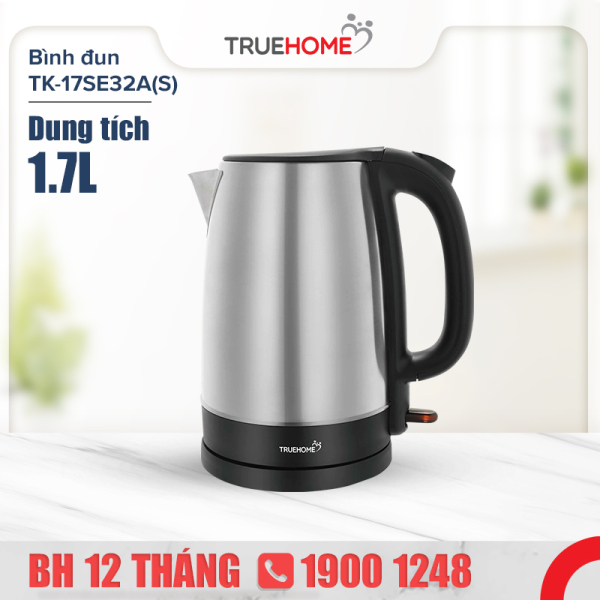Ấm đun nước siêu tốc TrueHOME TK-17SE32A(S) 1.7L 2200W - Thép không gỉ - Hàng chính hãng bảo hành 1 năm - Giới hạn 2 sản phẩm/khách hàng