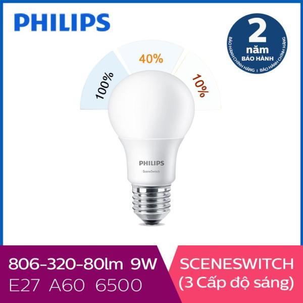 Bóng Đèn Philips LED Scene Switch 3 Cấp Độ Chiếu Sáng 9W 6500K E27 - Ánh Sáng Trắng