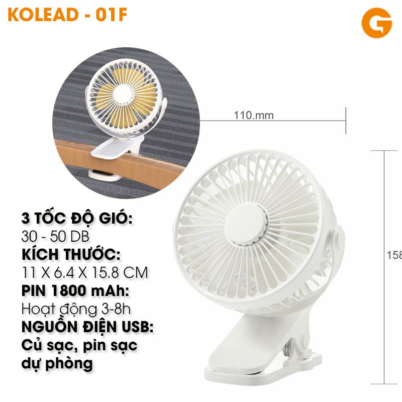 Quạt mini có kẹp KOLEAD - 01F mini tích điện pin sạc siêu bền dung lượng pin 1800mAh quạt liên tục 3-5 tiếng với 3 tốc độ gió - Hàng nhập khẩu