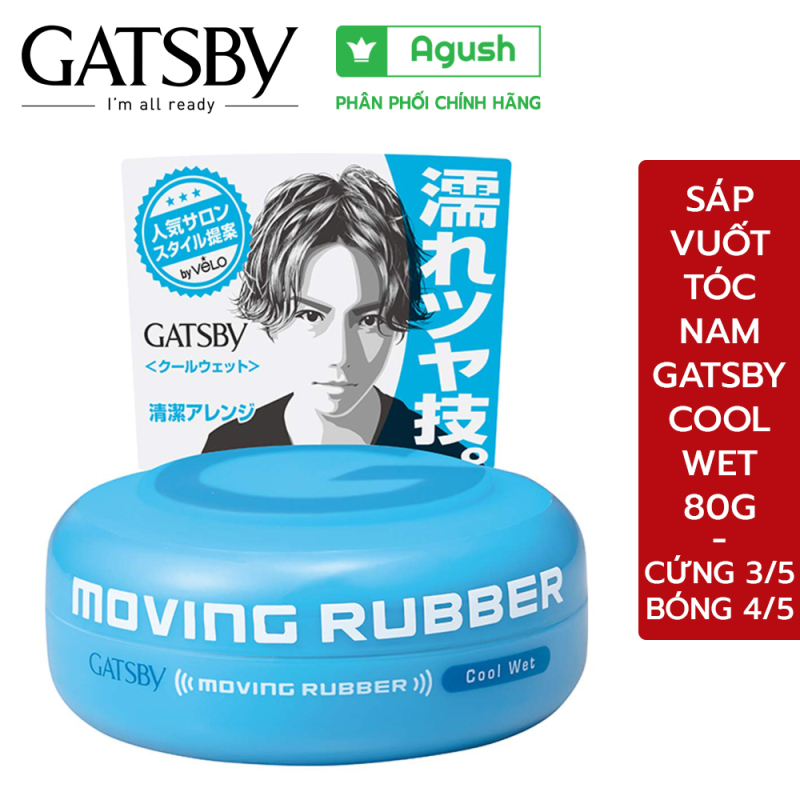 Sáp vuốt tóc nam cao cấp Gatsby Moving Rubber Cool Wet màu xanh dương 80G siêu bóng mềm giữ nếp lâu thơm mùi trái cây giá rẻ