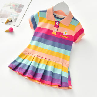 Zhihuida Váy Bé Gái 1-6 Tuổi, Đầm Trang Trí Hoa Cúc Dễ Thương Bằng Cotton Cho Bé Gái Đầm Công Chúa Ngắn Tay Cầu Vồng Bé Gái Mới Cho Bé Gái