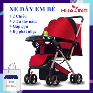 Xe đẩy em bé gấp gọn 2 chiều, 3 tư thế cao cấp Huaying kèm hộp phát nhạc, khung xe chắc chắn, phù hợp cho bé từ 0 đến 4 tuổi, bảo hành 12 tháng thumbnail