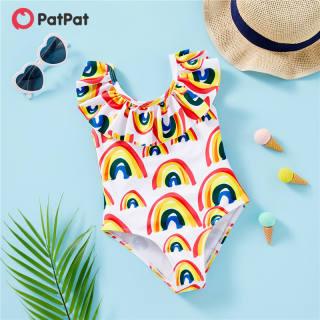 PatPat Toddler Cô Gái Cầu Vồng In Ruffle Áo Tắm Bộ Đồ Một Mảnh Cho 3-6 Tuổi-z