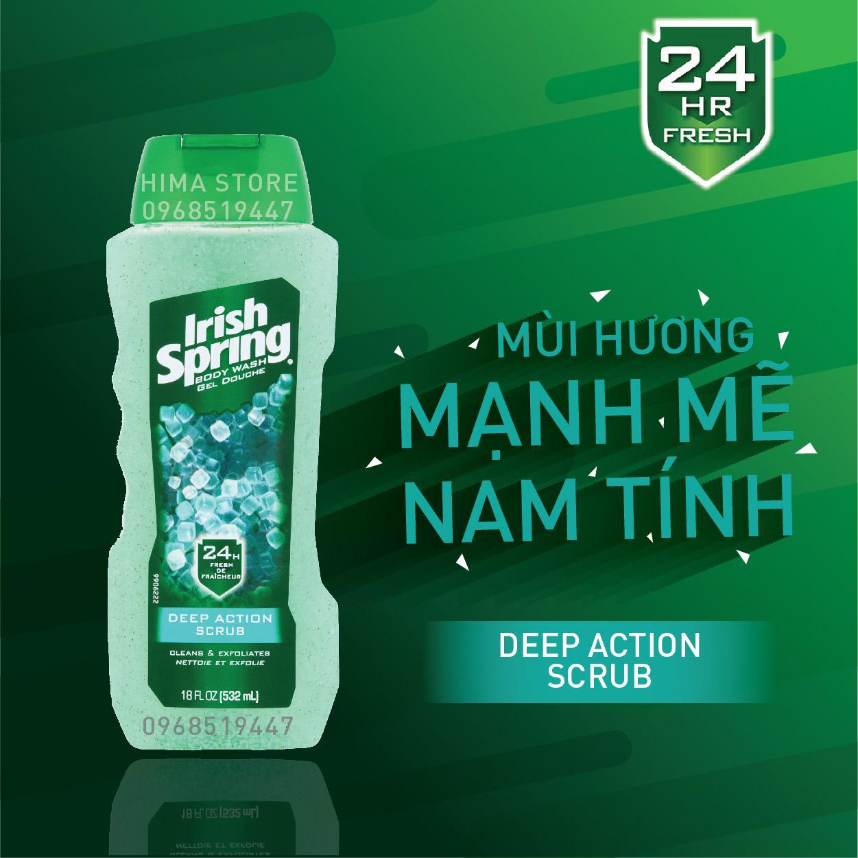 SỮA TẮM IRISH SPRING FOR MEN - DEEP ACTION SCRUB 532ML (XANH NGỌC) nhập khẩu