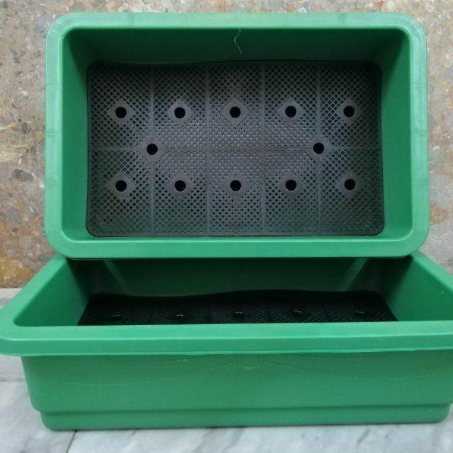 Combo 10 Chậu nhựa trồng rau màu xanh  Dài 65cm Rộng 42cm Cao 17cm