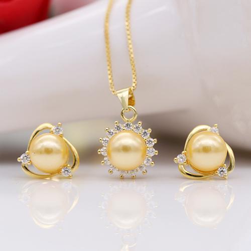 Bộ Trang Sức Ngọc Trai Mạ Vàng 18k - Bộ Trang Sức Nữ Cao Cấp  BV-1806 Bảo Ngọc Jewelry