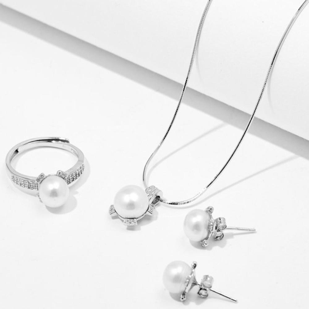 Bộ trang sức ngọc trai trắng bốn cánh hoa bạc Italy