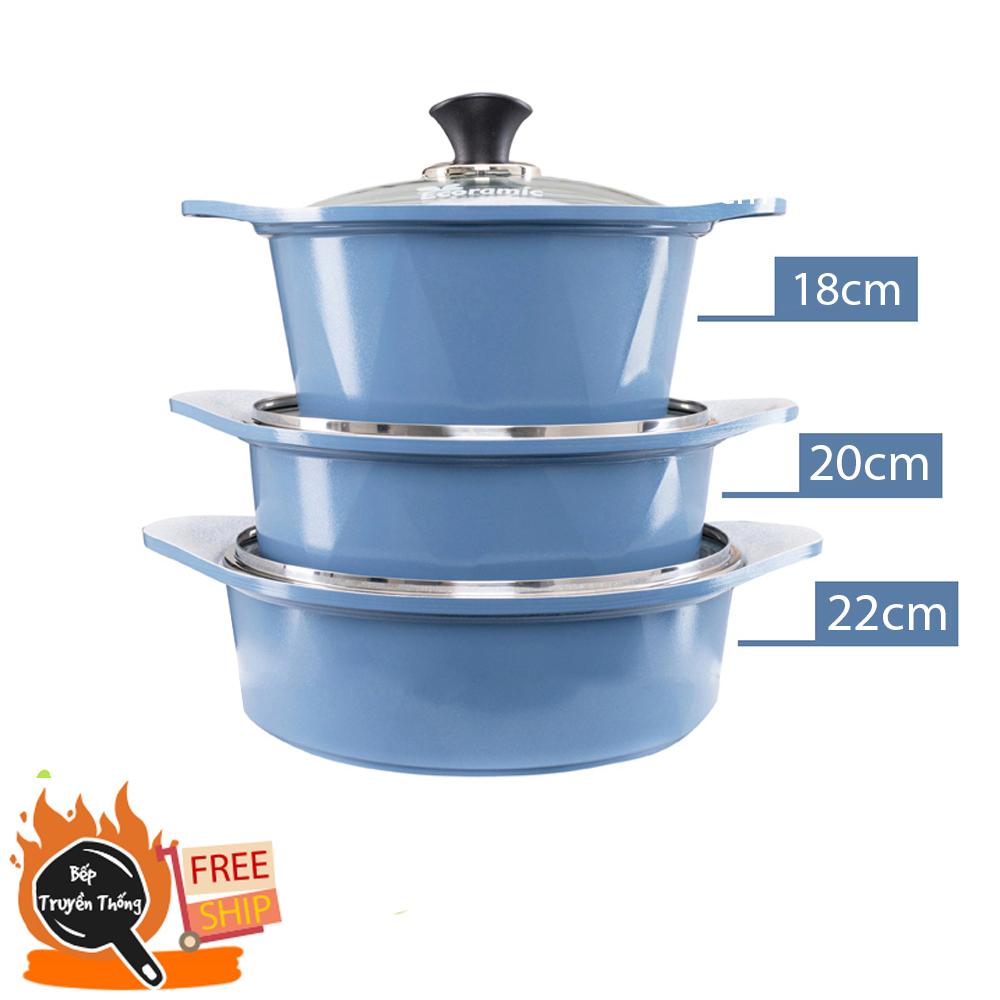 [Chính hãng Hàn Quốc] Seoulcook (E) Bộ 3 nồi đúc ceramic cao cấp 2 tay cầm 18-20-22 cm (dùng được bếp gas, hồng ngoại, lò nướng, ... không nấu được bếp từ)