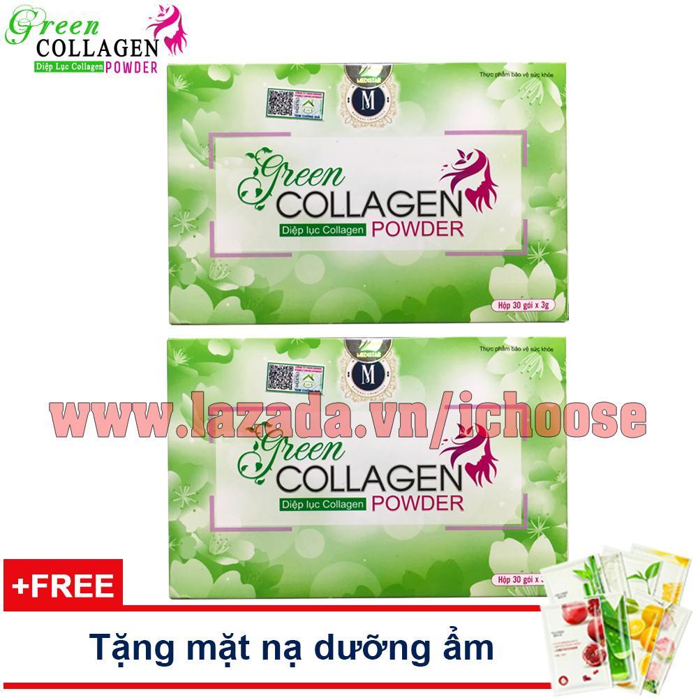 Combo 2 hộp Diệp lục Collagen - Da đẹp, dáng thon, cải thiện sinh lý nữ - Tặng mặt nạ dưỡng ẩm