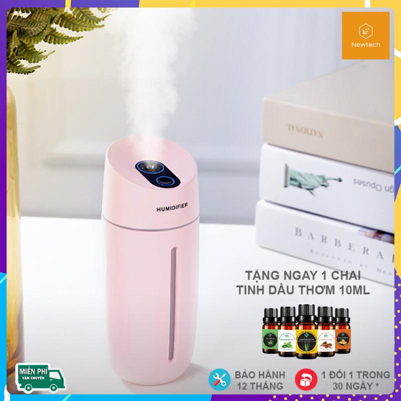 [TẶNG NGAY TINH DẦU THƠM] Máy phun sương mini tạo độ ẩm Newtech   Kèm đèn ngủ 7 màu   Máy xông tinh dầu, máy khuếch tán tinh dầu cho phòng ngủ, phòng điều hòa, ô tô