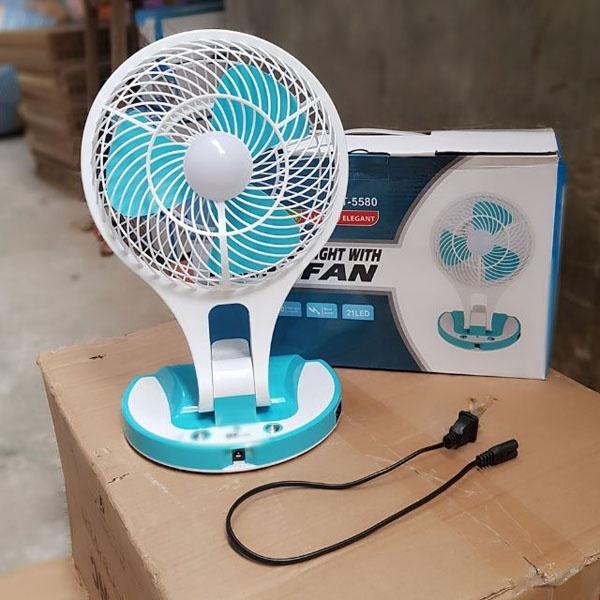 Quạt Tích Điện 5580 Mini Fan 2 In 1 Gấp Gọn