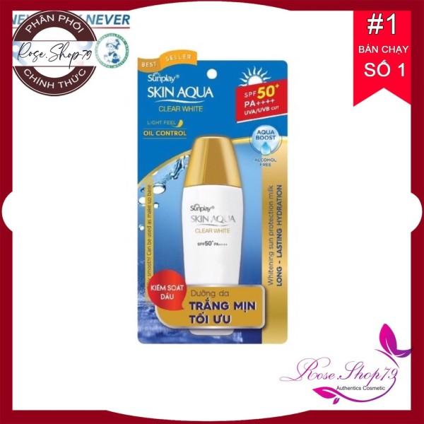 Sữa chống nắng Sunplay dưỡng da trắng mịn Sunplay Skin Aqua Clear White Spf50+/Pa++++|Nắp đồng 55g, shop cam kết 100% sản phẩm chính hãng nội ngoại nhập, bảo hành 1 đổi 1 nếu sản phẩm lỗi giá rẻ