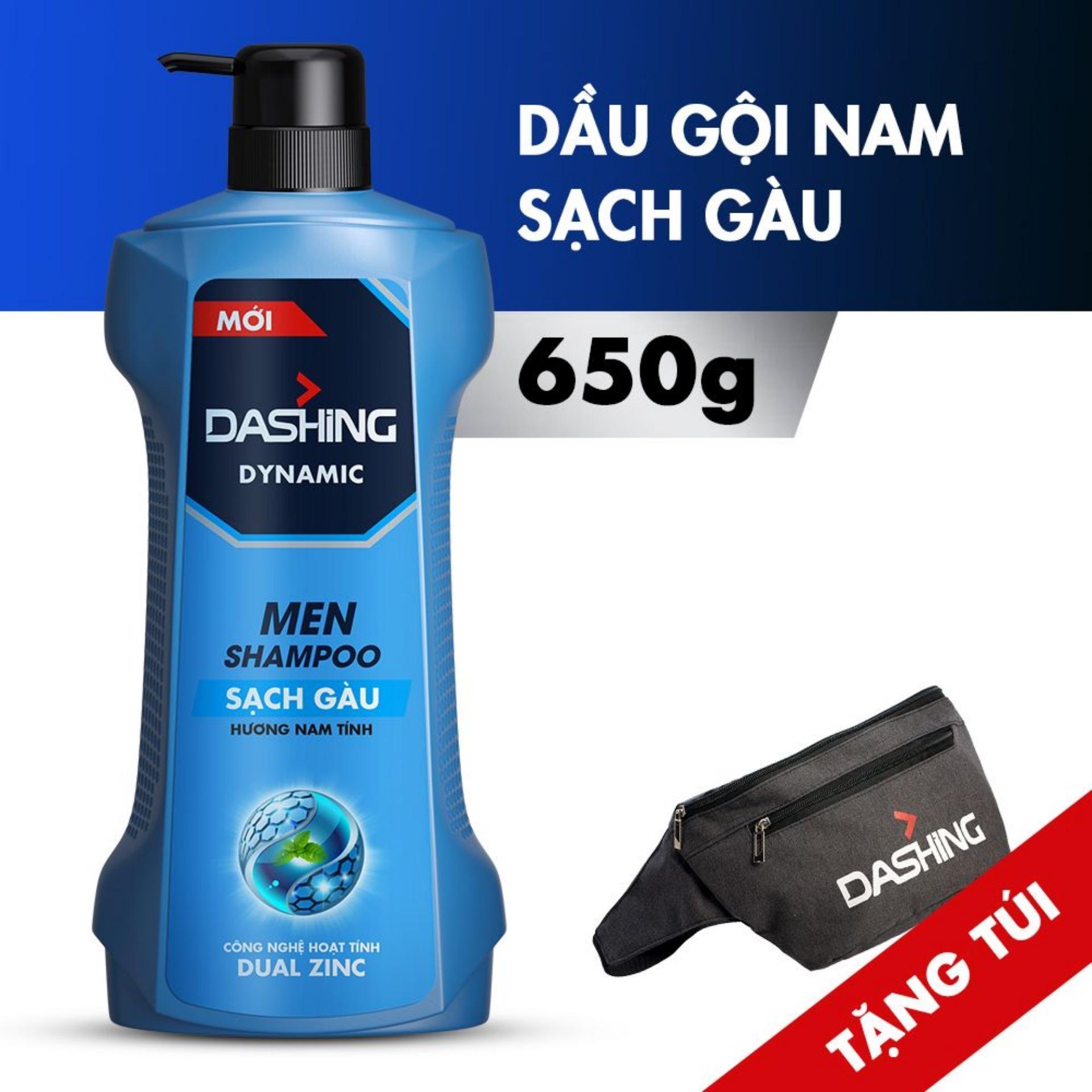 [Tặng túi đeo chéo sành điệu] Dầu gội sạch gàu cho nam giới Dashing Dynamic Men Shampoo 650g